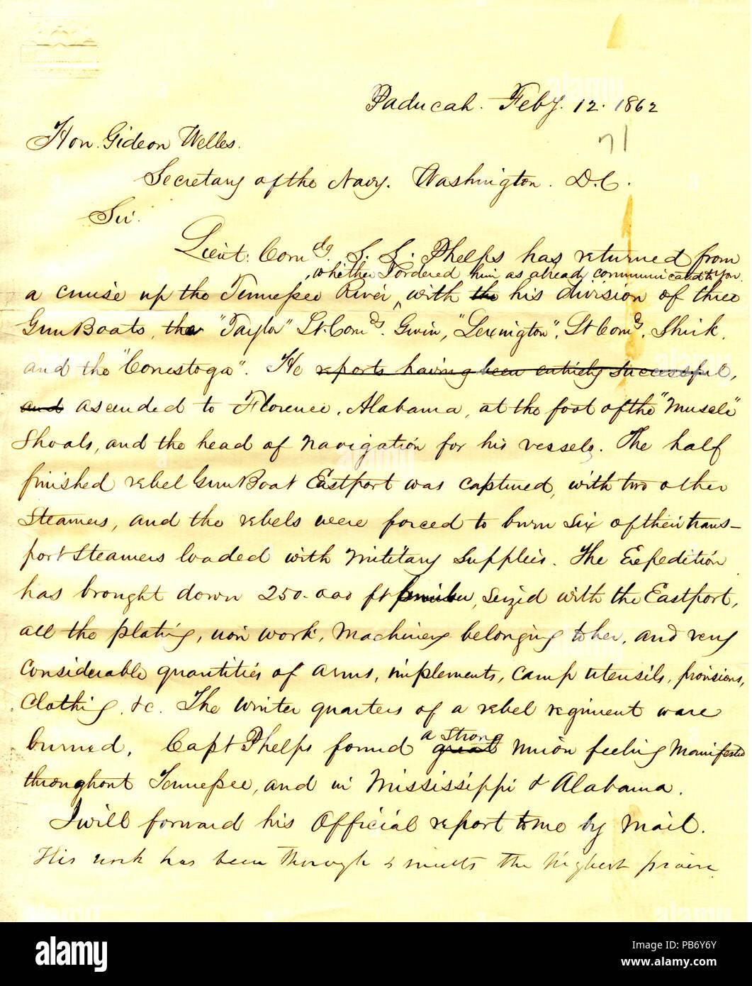 915 Letter to Gideon Welles, February 12, 1862 - Stock Image