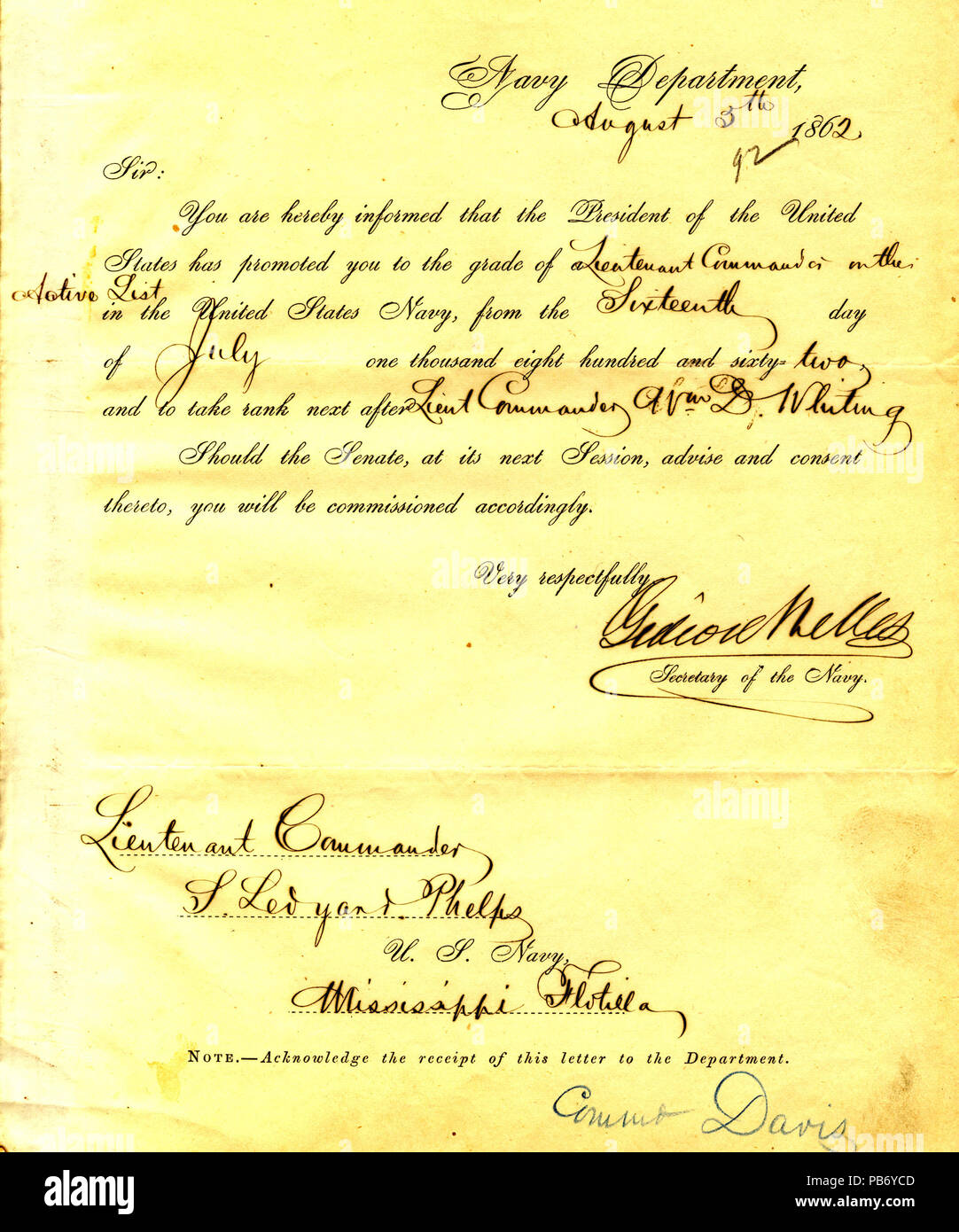901 Letter from Gideon Welles to Seth Ledyard Phelps, August 5, 1862 - Stock Image