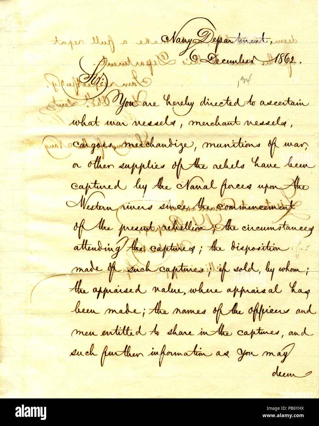 901 Letter from Gideon Welles to Seth Ledyard Phelps, December 6, 1862 - Stock Image