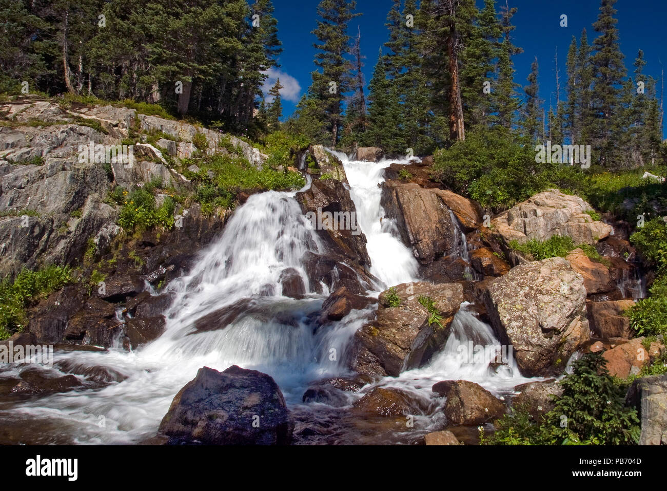 Waterfall along the Trail in the Arapaho National Forest - Stock Image
