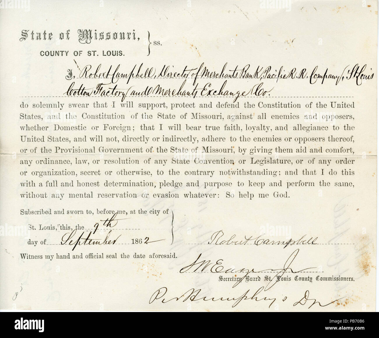 954 Loyalty oath of Robert Campbell of Missouri, County of St. Louis - Stock Image