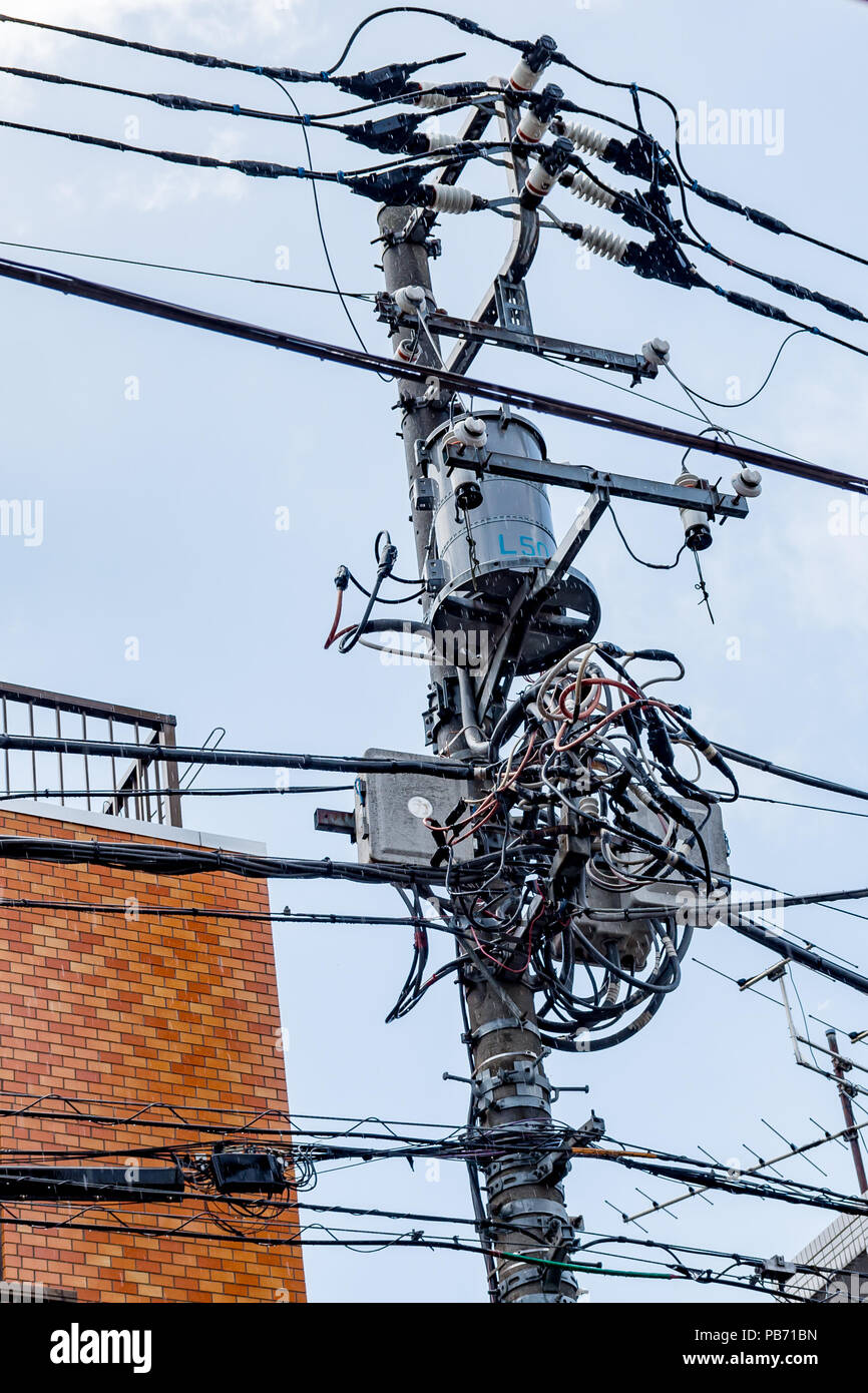 Electrical Junction Box Stock Photos Wiring Boxes Tangled Mess Of Power Cables And On Wooden Pole In Tokyo Japan