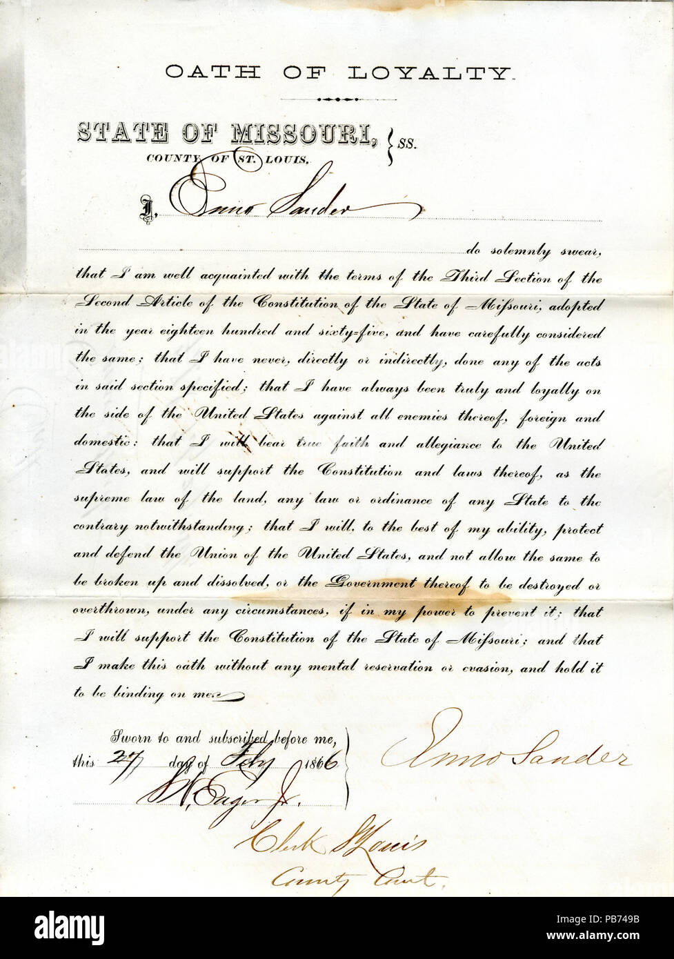 946 Loyalty oath of Enno Sander of Missouri, County of St. Louis - Stock Image