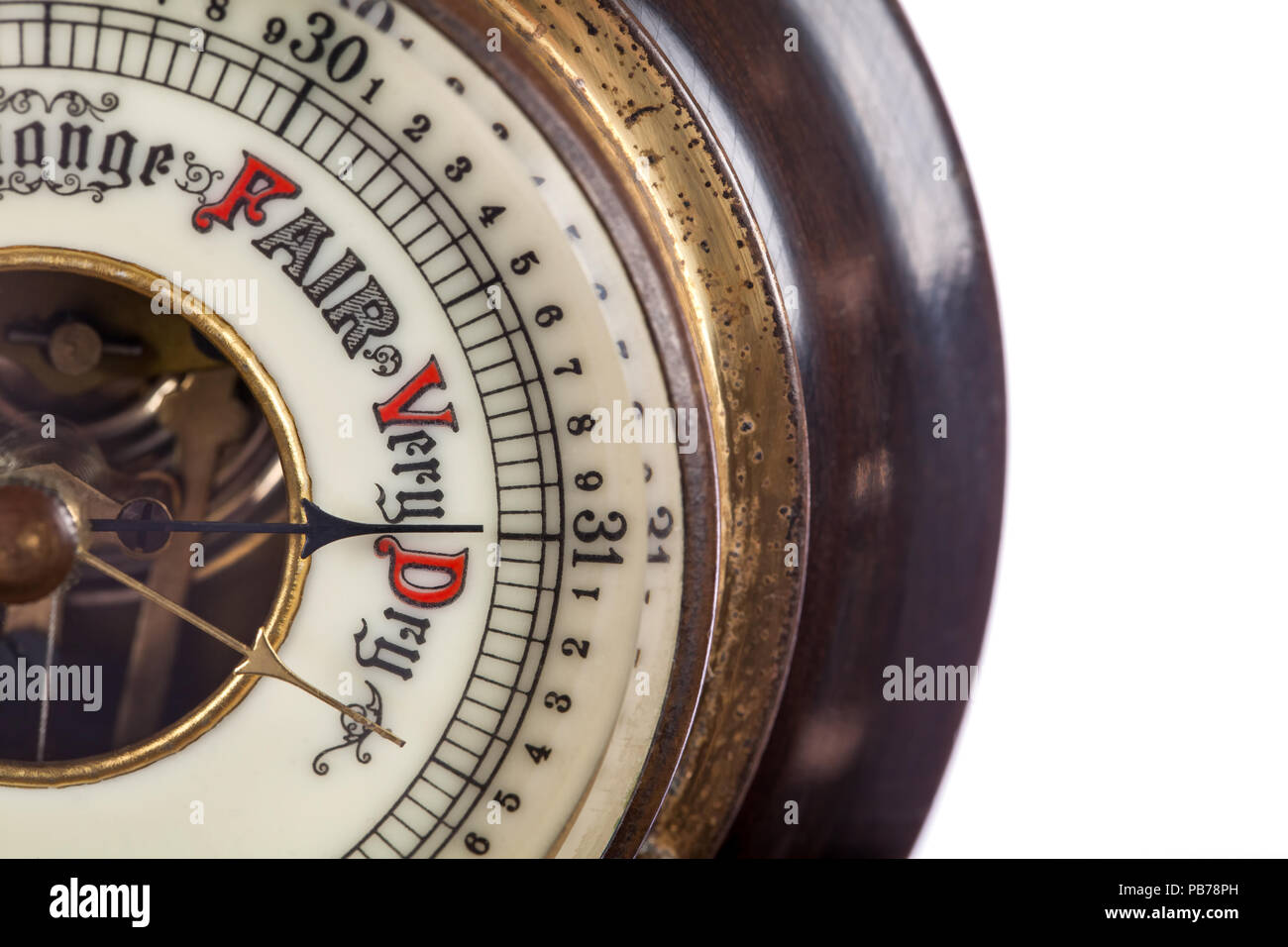 Heat wave. Very dry weather forecast by vintage barometer. Extreme hot temperature and drought. Global warming and climate change Forecasting a heatwa - Stock Image