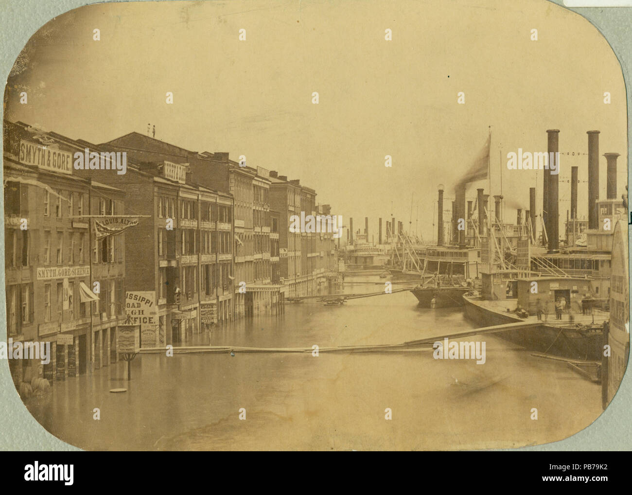 759 High Water At St Louis Flooded Levee And Front Street Str Platte Valley Right 15 June 1858