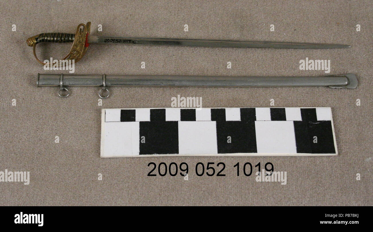 1020 Metal Sword and Scabbard Letter Opener - Stock Image