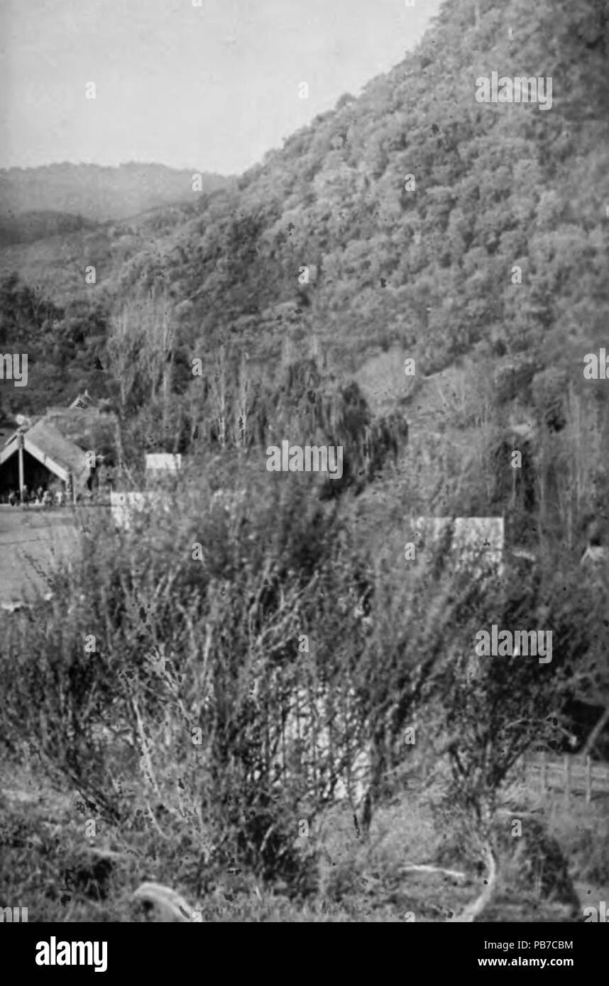 . English: Village of Ranana, (Ranana = London in Maori), Whanganui River, North Island, New Zealand. Image from scanned version of the PD book Picturesque New Zealand, by Paul Gooding, published in 1913 File:Picturesque New Zealand, 1913.djvu. Right side of page 144. See R?nana . 1245 Ranana Village 1913 right side - page 144 - Stock Image