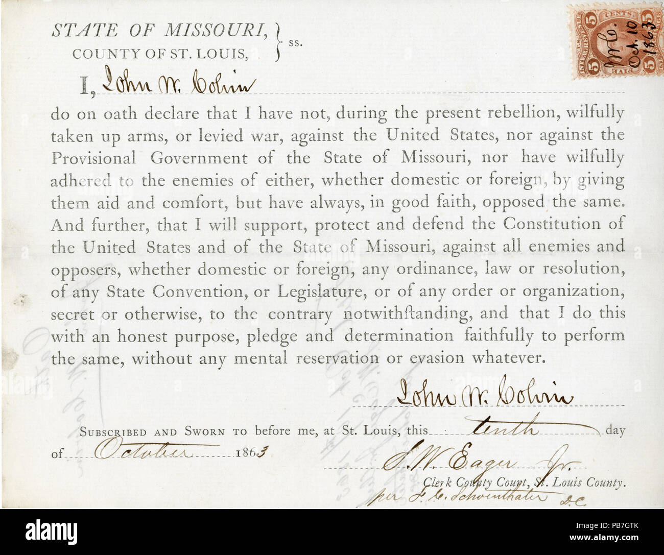951 Loyalty oath of John W. Colvin of Missouri, County of St. Louis - Stock Image