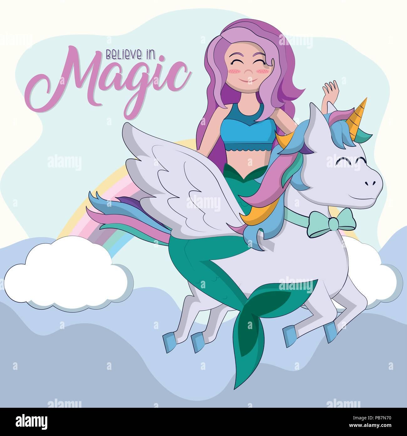 Believe in magic cartoons Stock Vector