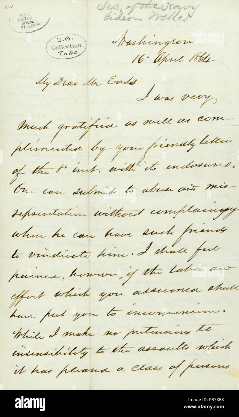 908 Letter signed Gideon Welles, Washington, to James B. Eads, April 16, 1864 - Stock Image