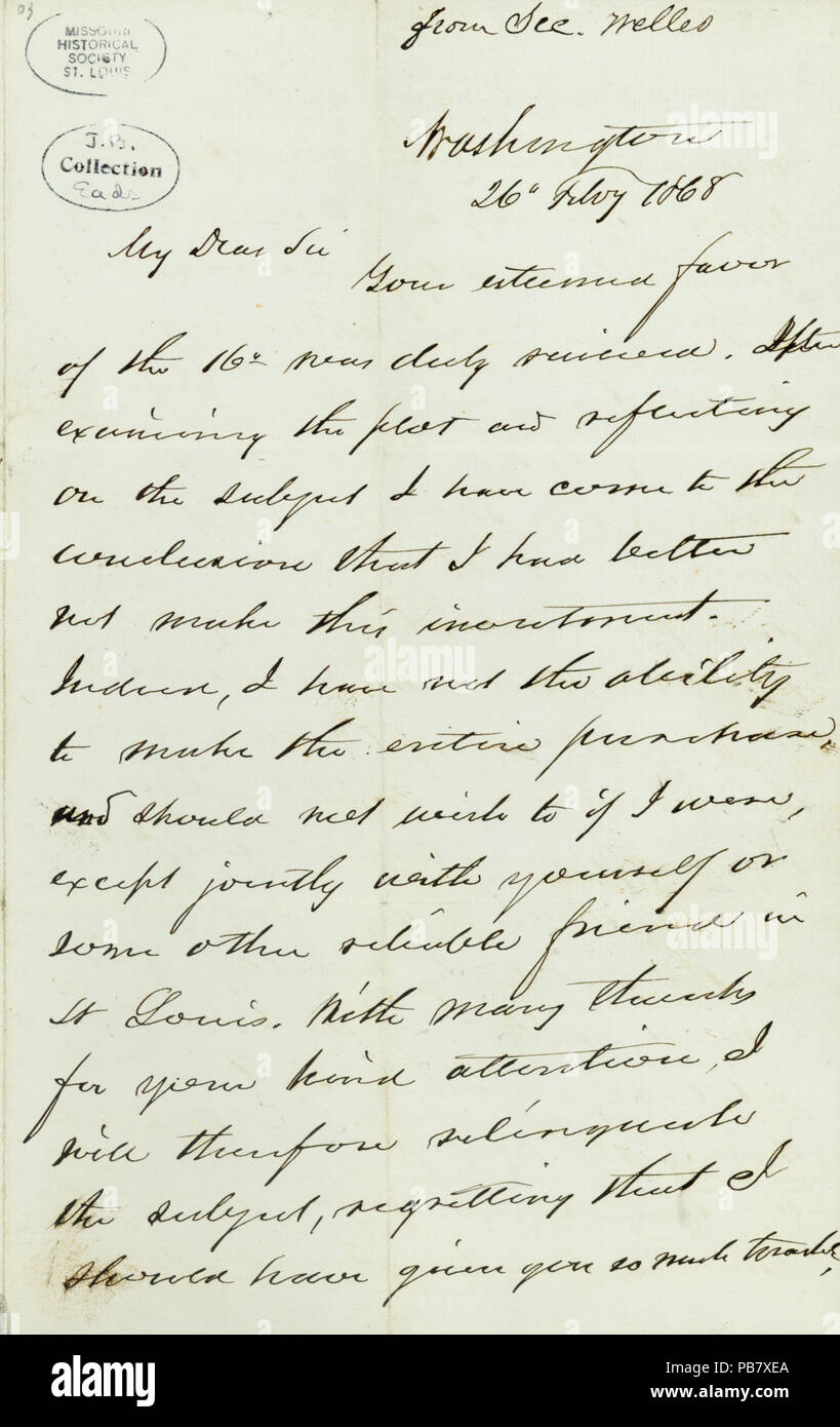 908 Letter signed Gideon Welles, Washington, (to James B. Eads), February 26, 1868 - Stock Image