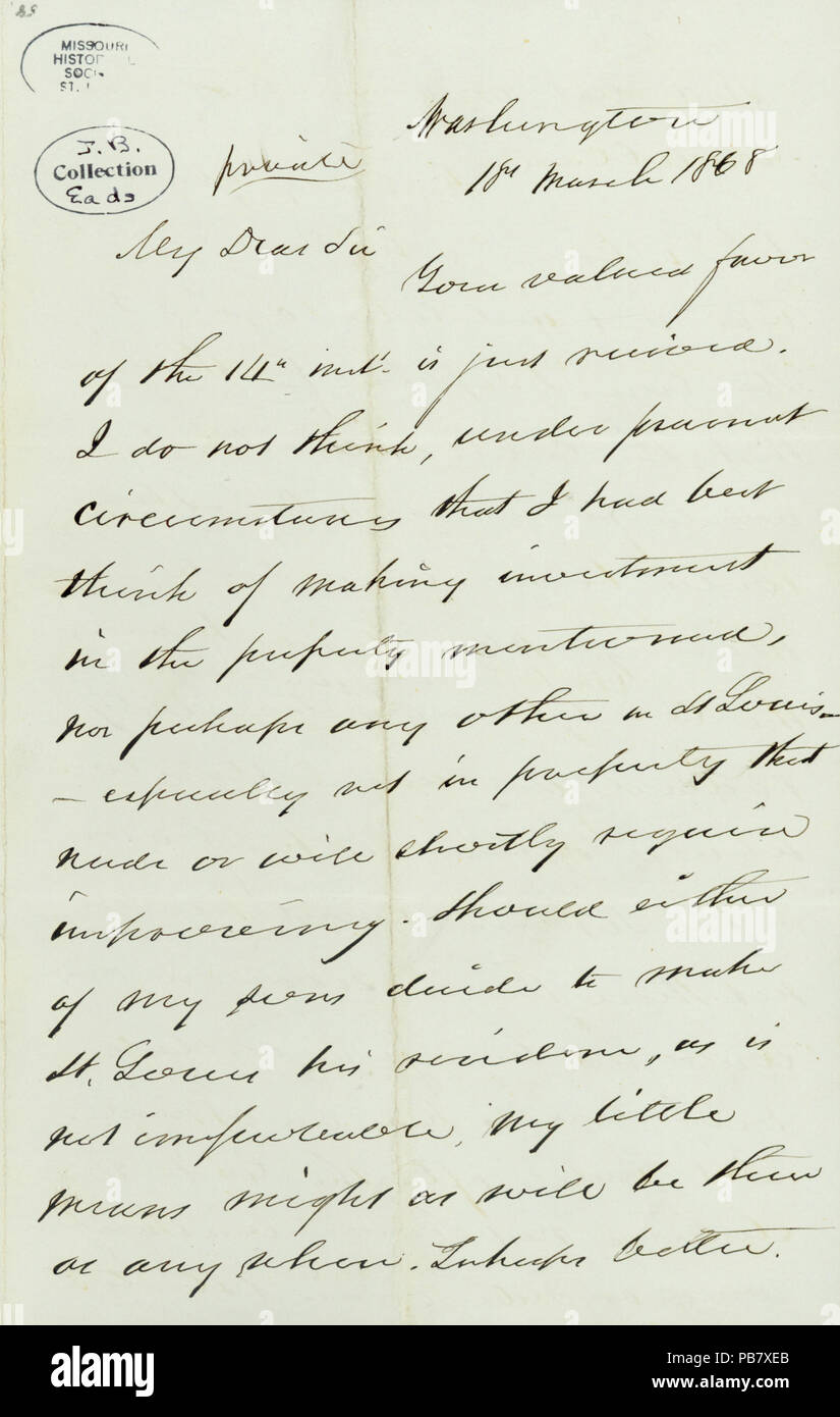 908 Letter signed Gideon Welles, Washington, (to James B. Eads), March 18, 1868 - Stock Image