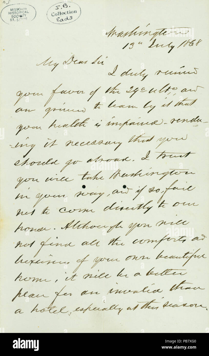 908 Letter signed Gideon Wells, Washington, to J.B. Eads, July 13, 1868 Stock Photo