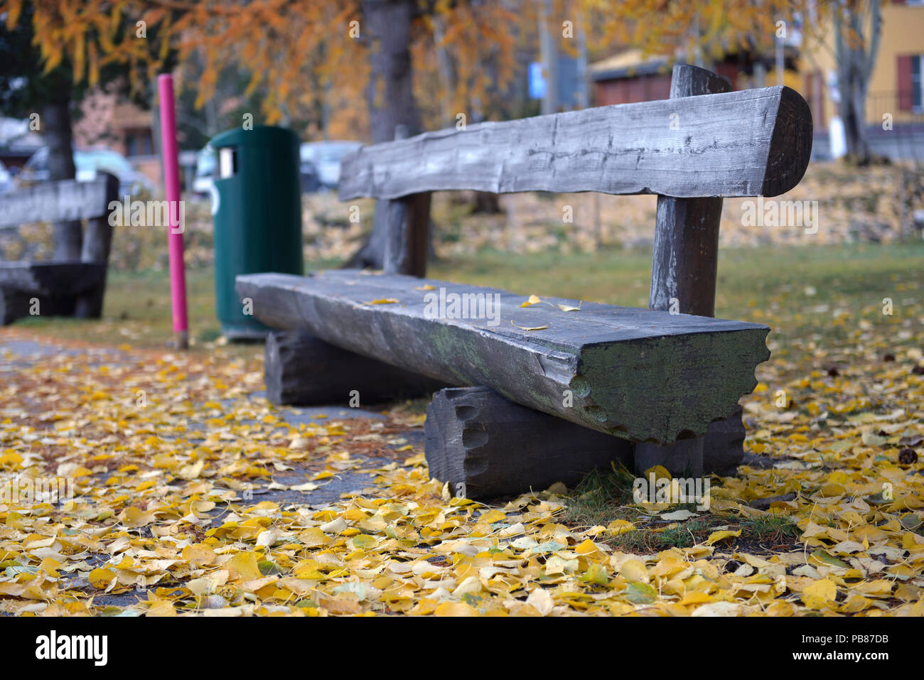 bench in the park among yellow leaves - Stock Image