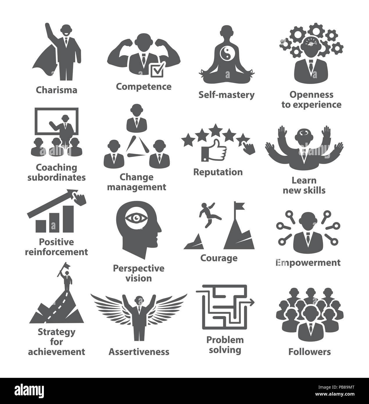 Business management icons Pack 45 Icons for leadership, career - Stock Image
