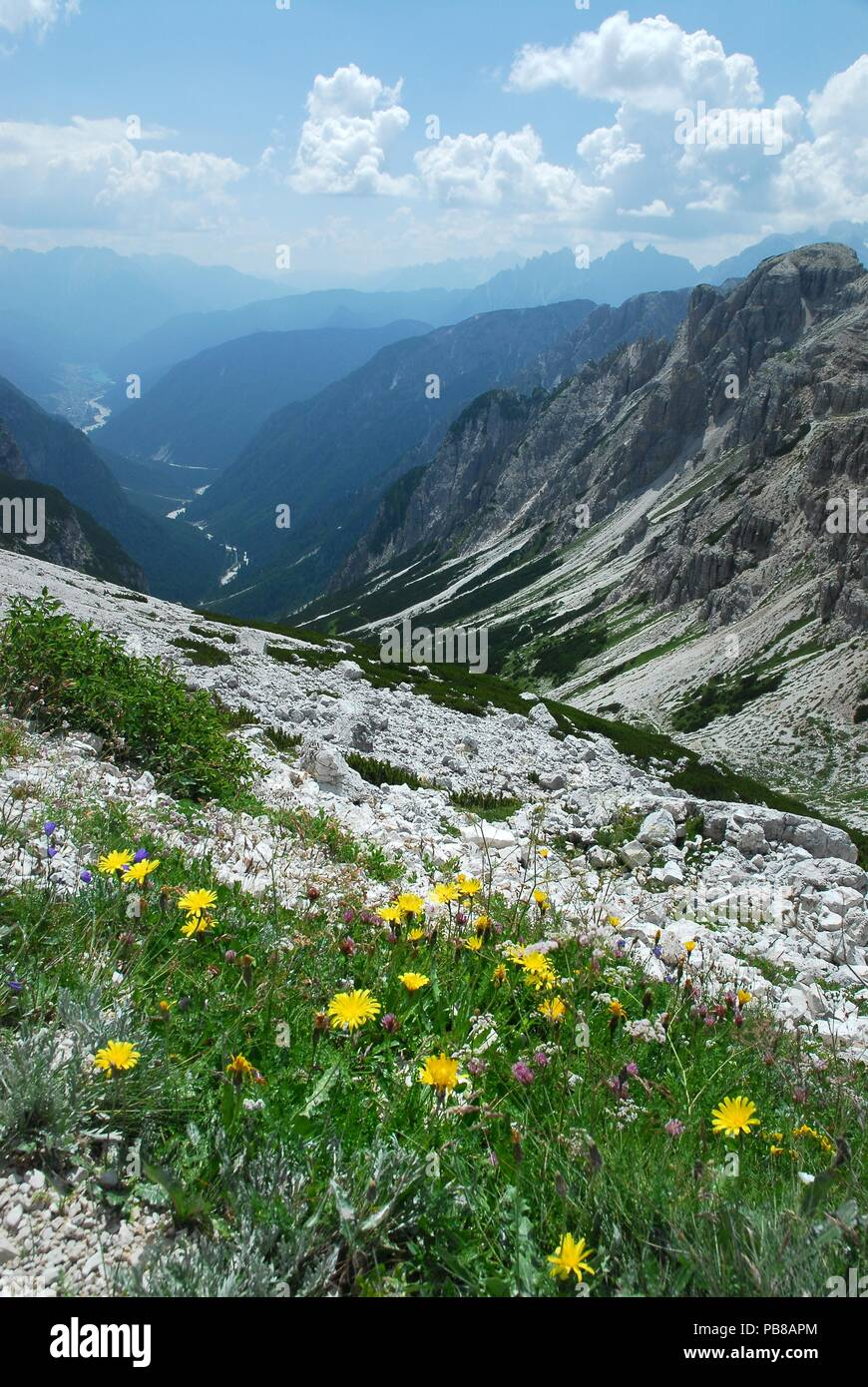 Val Marzon with Auronzo di Cadore in the background view from the path around the 3 Cime of Lavaredo, Dolomites of Sesto, Italy. Stock Photo