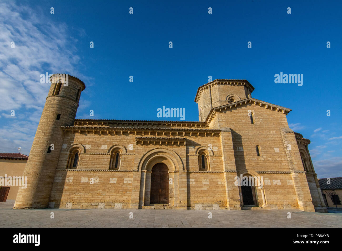Fromista, Palencia, Spain December 2015: The Romanesque Church of Fromista on the way to Santiago - Stock Image