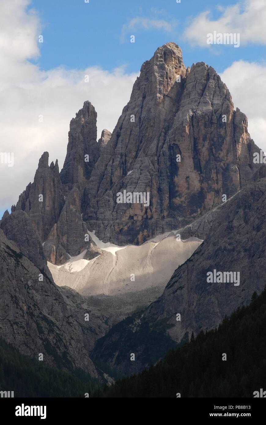Cima Dodici o Croda dei Toni from Val Fiscalina, Dolomiti di Sesto, Italy - Stock Image