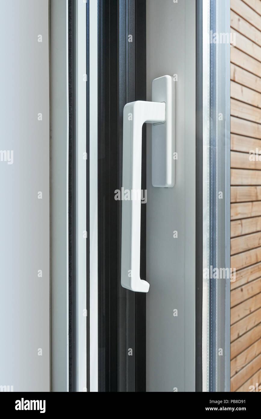Sliding Glass Door Handle Opening On Garden Stock Photo 213471693