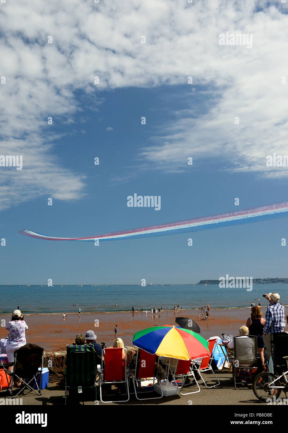 Spectators watching the RAF Red Arrows performing at the Torbay Airshow 2018. Stock Photo