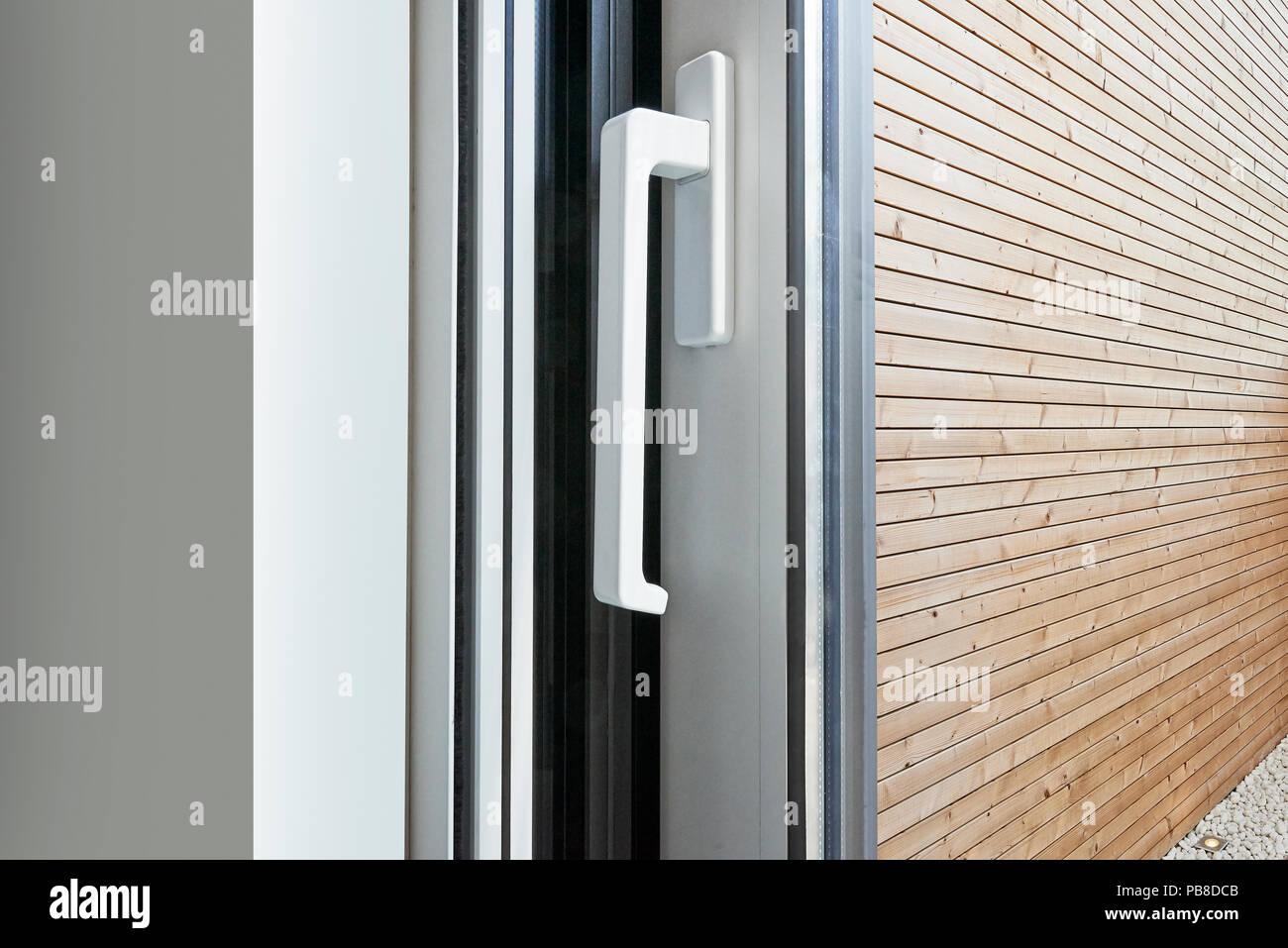 Sliding Glass Door Handle Opening On Garden Stock Photo 213471787