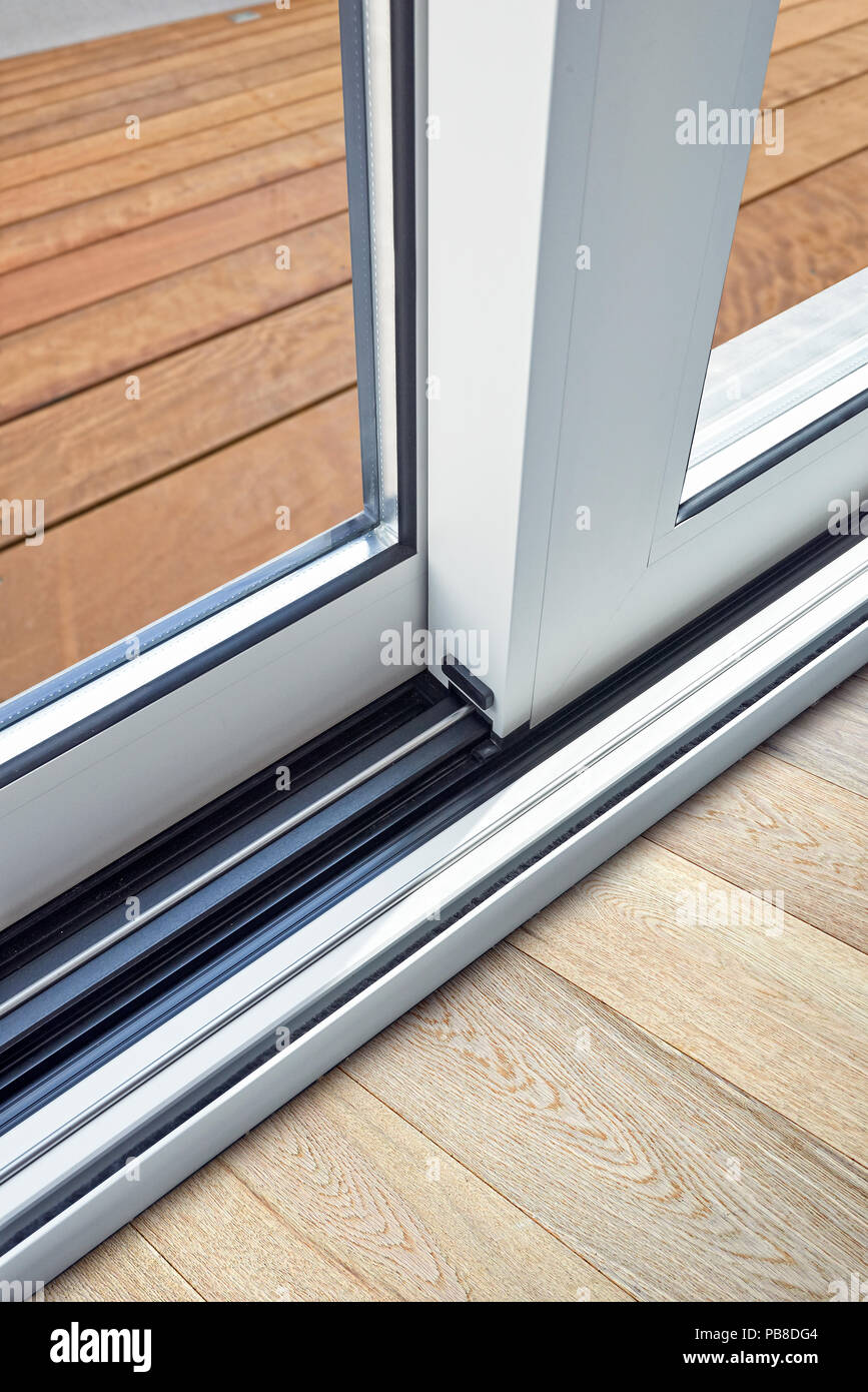 Sliding Glass Door Detail And Rail Embed In Floor Stock Photo