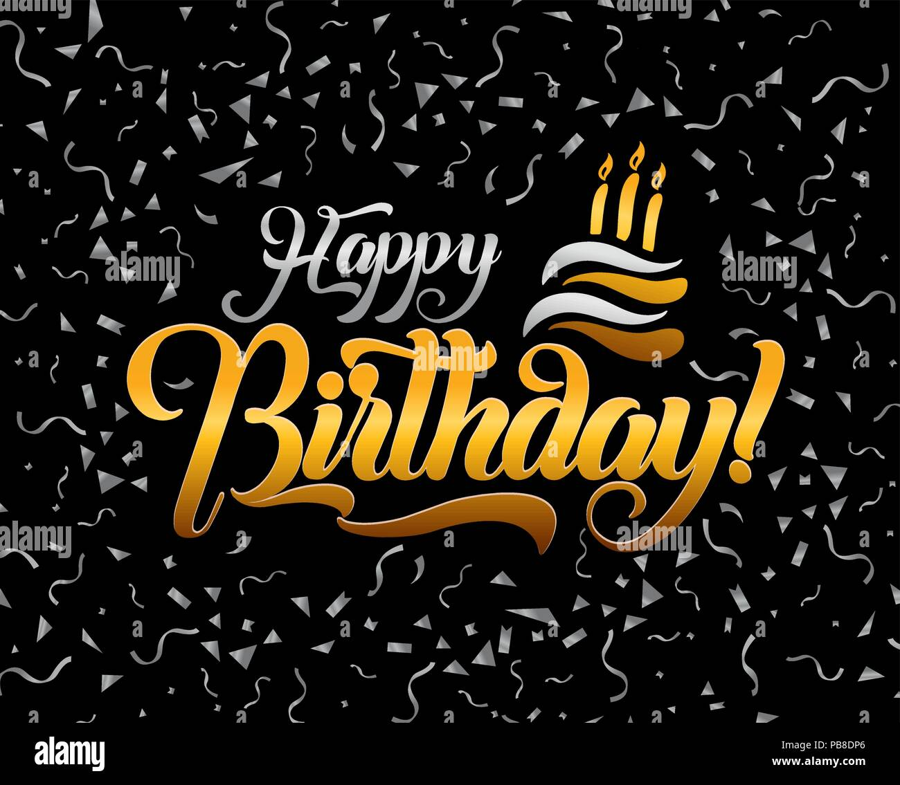 Happy Birthday Lettering Text Vector Illustration Greeting Card Design
