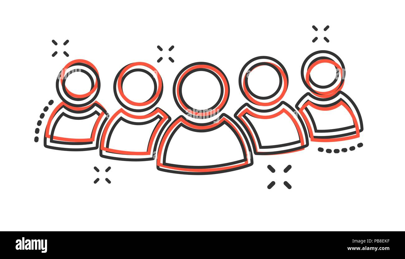 Vector cartoon group of people icon in comic style. Persons sign illustration pictogram. People business splash effect concept. - Stock Vector