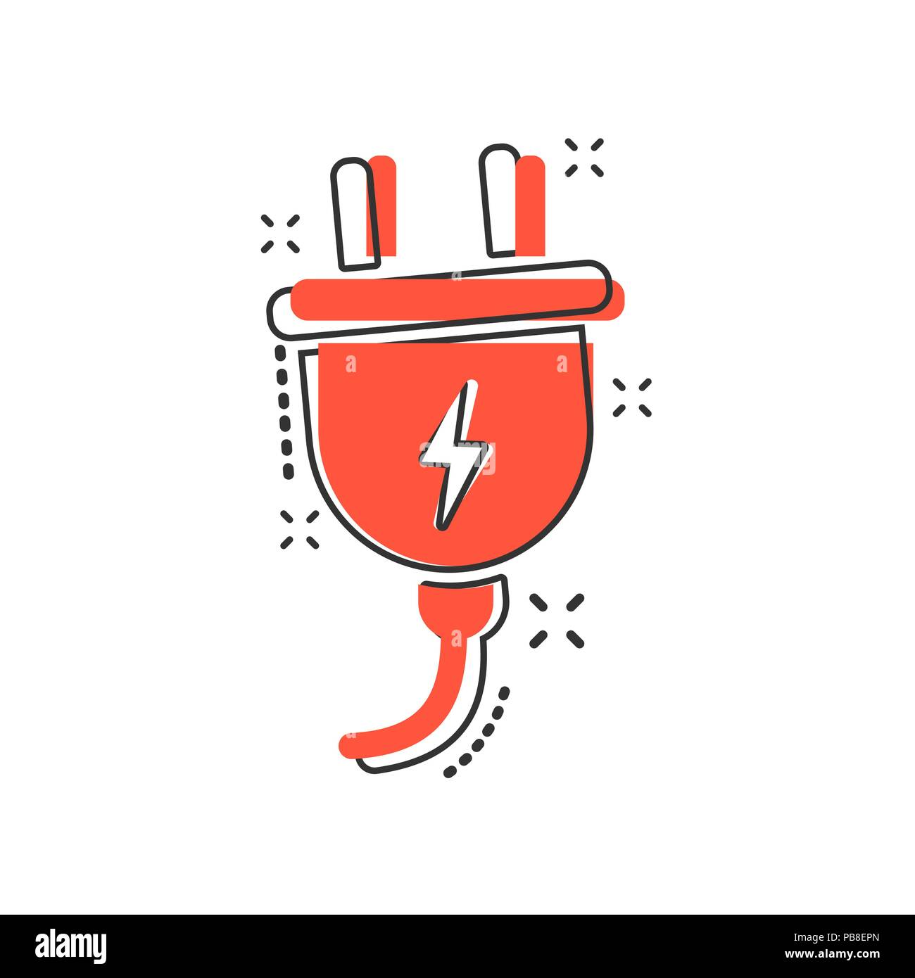 Vector cartoon electric plug icon in comic style. Power wire cable ...