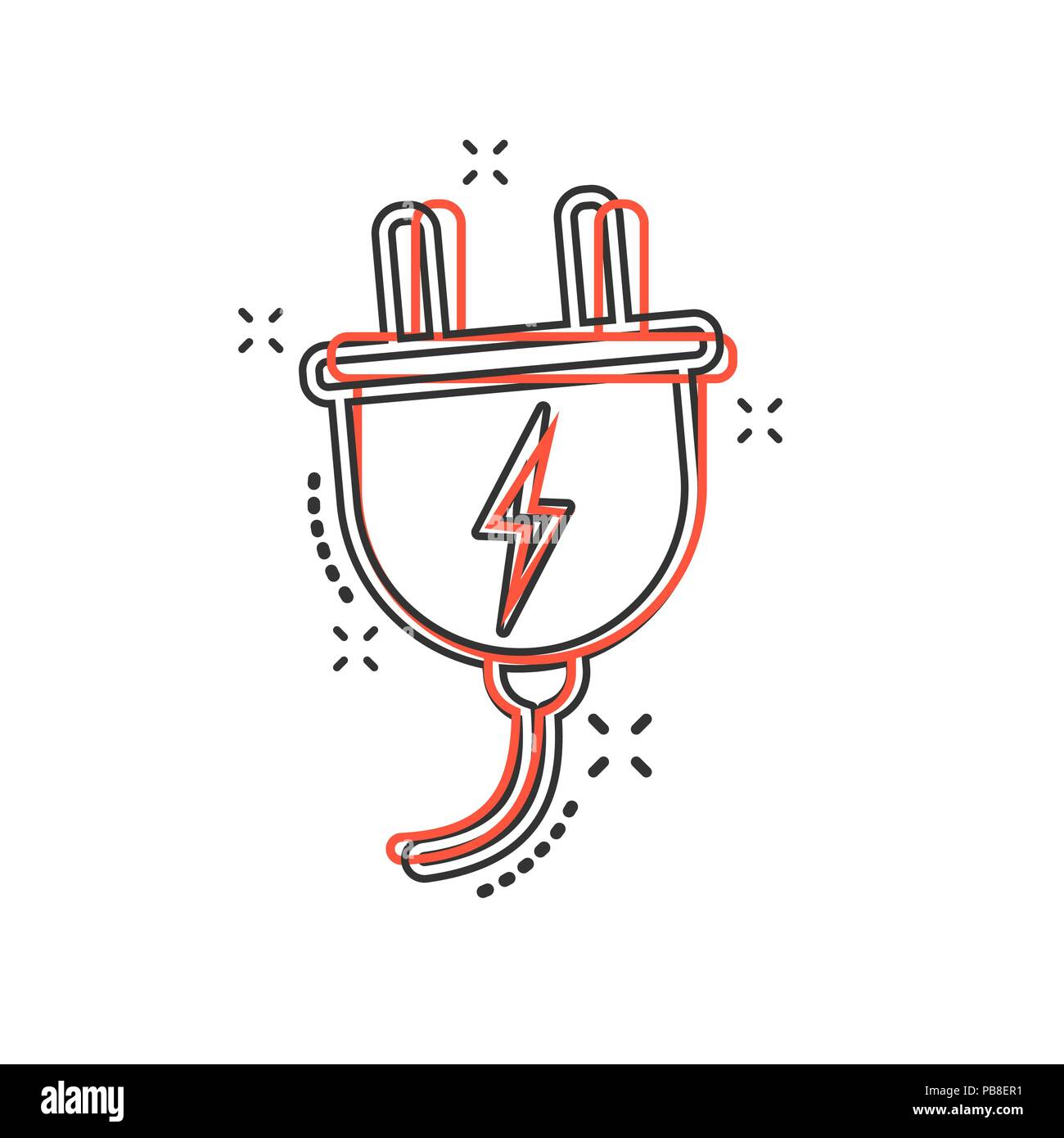 Vector Cartoon Electric Plug Icon In Comic Style Power Wire Cable Symbol For Electrical Wiring Diagram Sign Illustration Pictogram Business Splash Effect Concept