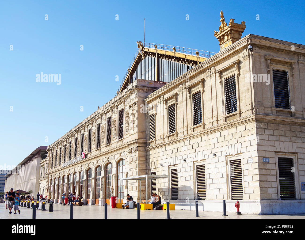 Oblique view of the frontage of Marseille St Charles station, built for the PLM railway, and opened in 1848 - Stock Image