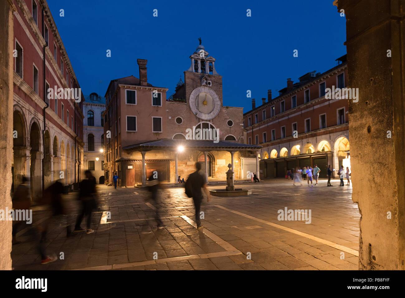 Campo San Giacomo di Rialto with church, San Polo, Venice,Italy - Stock Image
