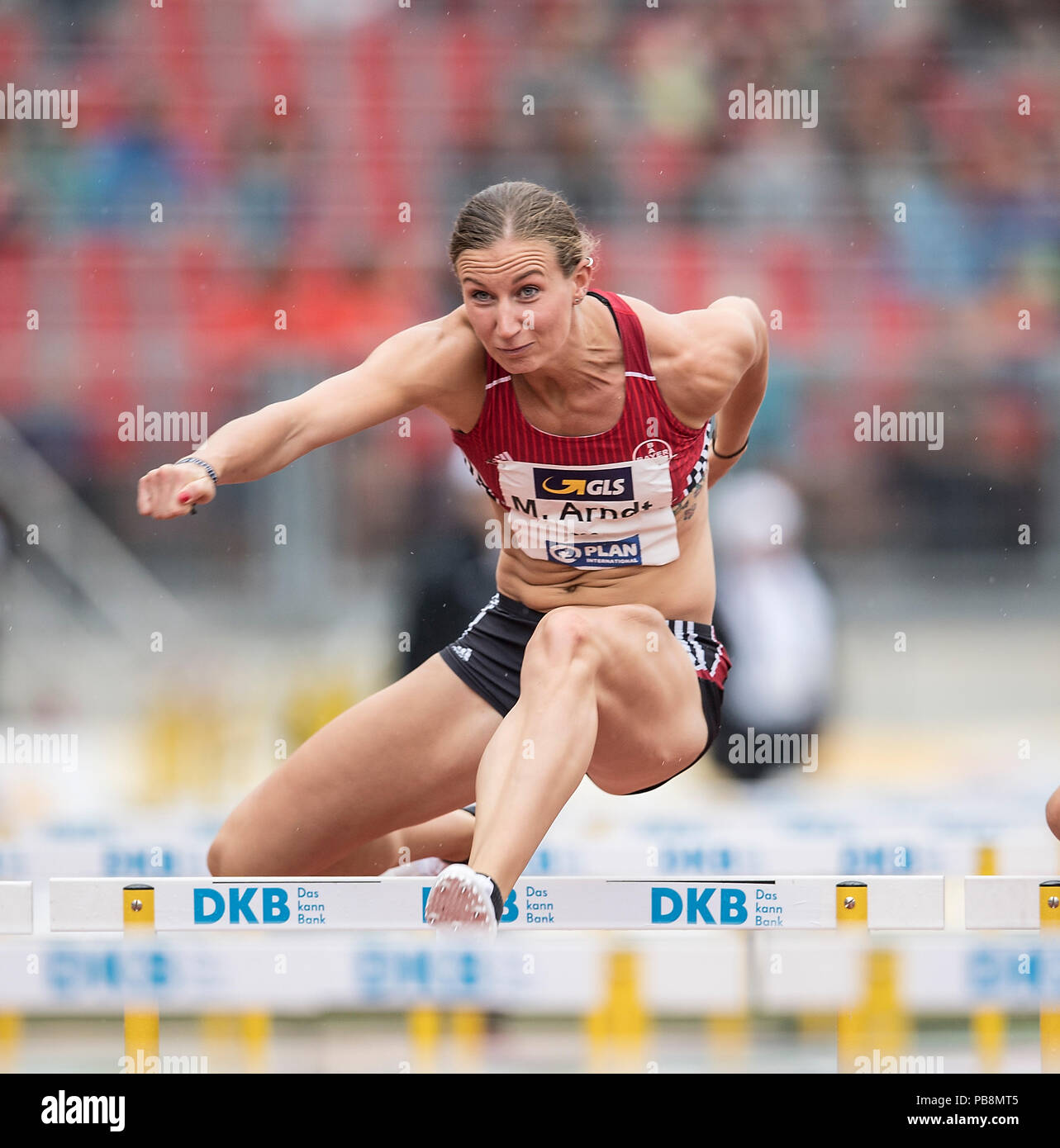 Mareike ARNDT (TSV Bayer 04 Leverkusen) action. Run 100m women's hurdles on 21.07.2018. German Athletics Championships 2018, from 20.07. - 22.07.2018 in Nuernberg/Germany. | usage worldwide - Stock Image