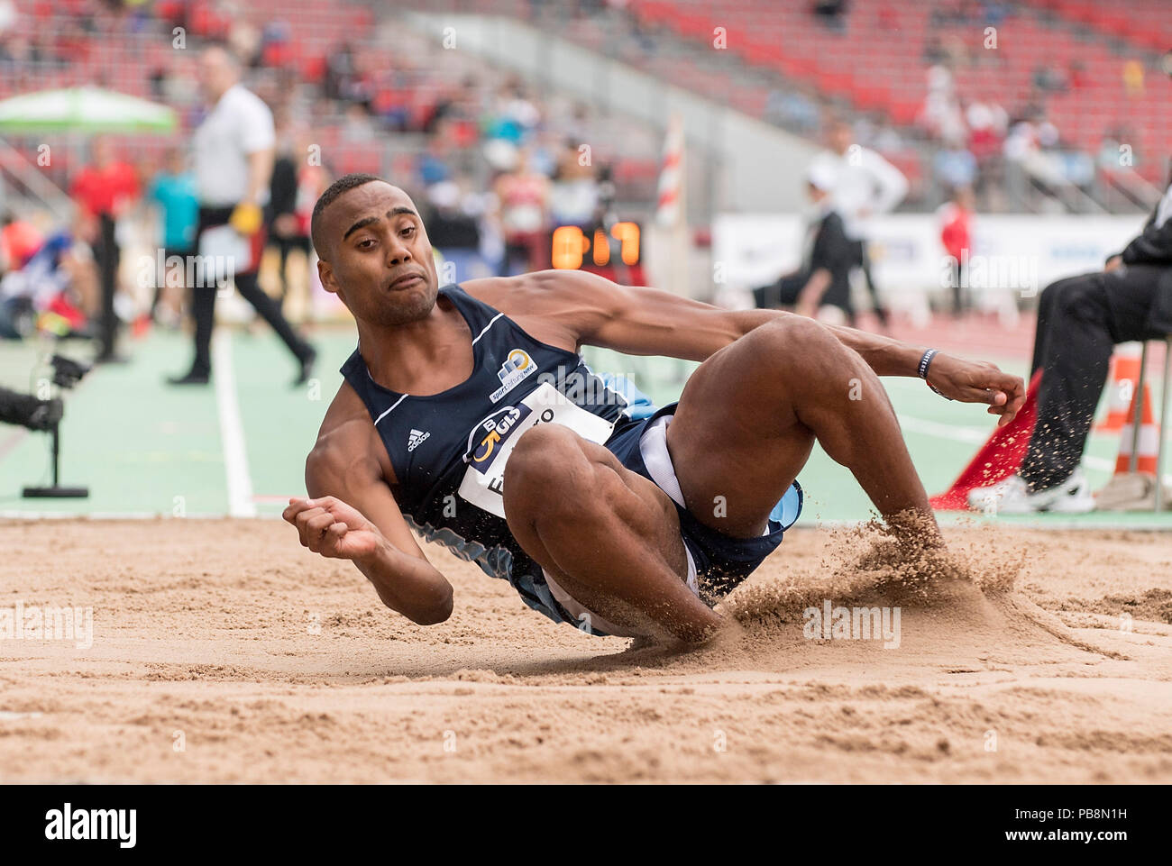 Nuremberg, Deutschland. 21st July, 2018. Ituah ENAHORO (LAV Bayer Uerdingen/Dormagen) Action, final long jump of the men on 21.07.2018. German Athletics Championships 2018, from 20.07. - 22.07.2018 in Nuernberg/Germany. | usage worldwide Credit: dpa/Alamy Live News - Stock Image