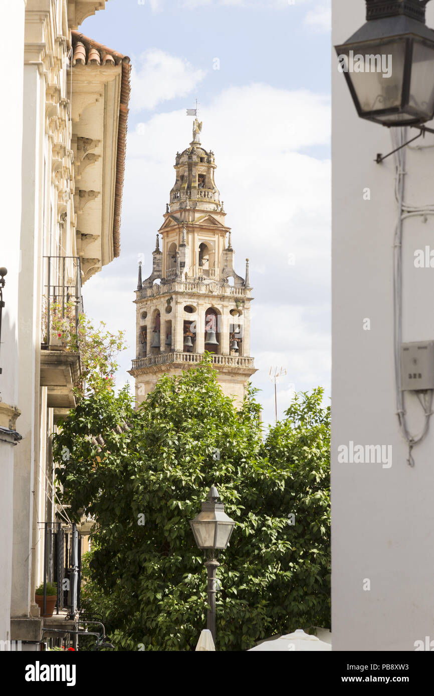 June 10, 2018 - CóRdoba, Spain - Belfry of the Mosque-Cathedral of Cordoba.Córdoba was the capital of the Later Hispania in the times of the Roman Republic, or of the Bética province during the Roman Empire and the Caliphate of Córdoba during the Muslim era. Credit: Lito Lizana/SOPA Images/ZUMA Wire/Alamy Live News Stock Photo