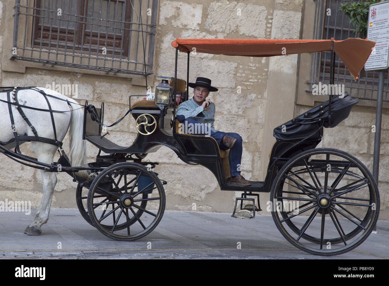 June 10, 2018 - CóRdoba, Spain - Carriage driver with the cordobes hat.Córdoba was the capital of the Later Hispania in the times of the Roman Republic, or of the Bética province during the Roman Empire and the Caliphate of Córdoba during the Muslim era. Credit: Lito Lizana/SOPA Images/ZUMA Wire/Alamy Live News Stock Photo