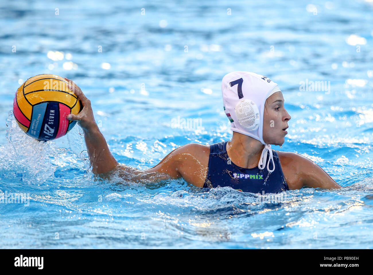 Bernat Picornell Pools, Barcelona, Spain. 27th July, 2018. 33rd European Womens Water Polo Championships, 3rd place playoff, Spain versus Hungary; Anna Krisztina Illes of Hungary looks for a passing outlet Credit: Action Plus Sports/Alamy Live News - Stock Image