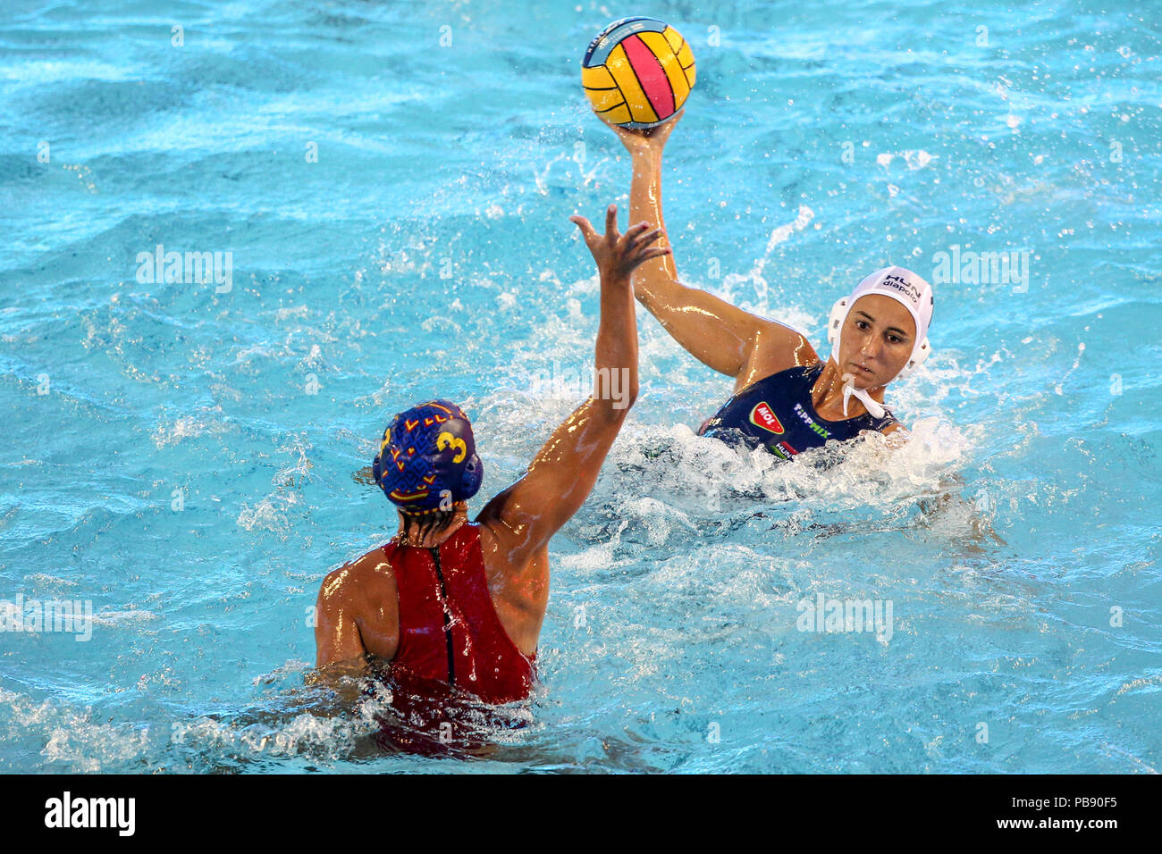Bernat Picornell Pools, Barcelona, Spain. 27th July, 2018. 33rd European Womens Water Polo Championships, 3rd place playoff, Spain versus Hungary; A goal scoring chance for Anna Krisztina Illes of Hungary Credit: Action Plus Sports/Alamy Live News - Stock Image