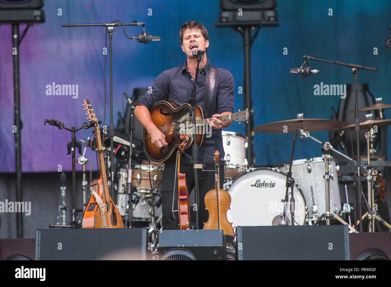 Milan Italy. 27 July 2018. The English singer/songwriter and multi-instrumentalist SETH LAKEMAN perform live at Ippodromo SNAI San Siro during the 'Milano Summer Festival' opening the show of Robert Plant. Credit: Rodolfo Sassano/Alamy Live News - Stock Image