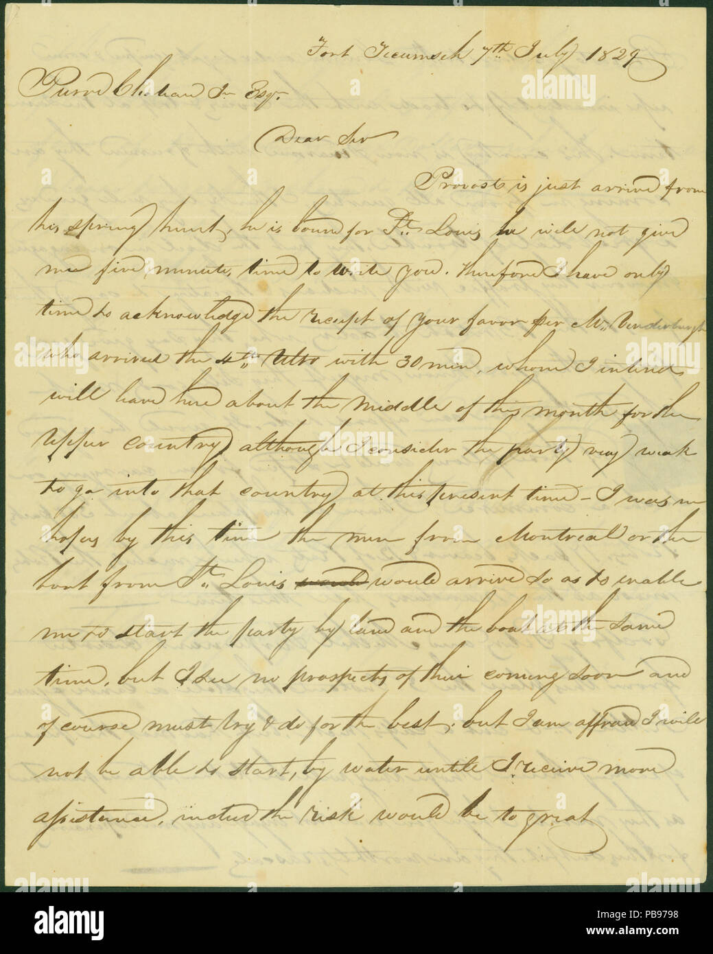 910 Letter signed K  McKenzie (Kenneth MacKenzie), Fort