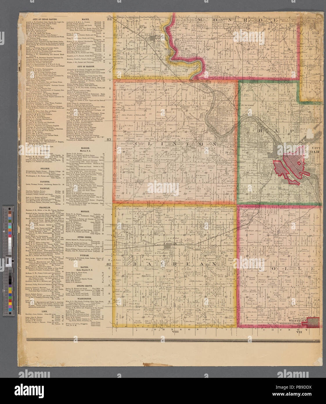 993 Map Of Linn County Iowa Nypl B11655881 5366943 Stock Photo