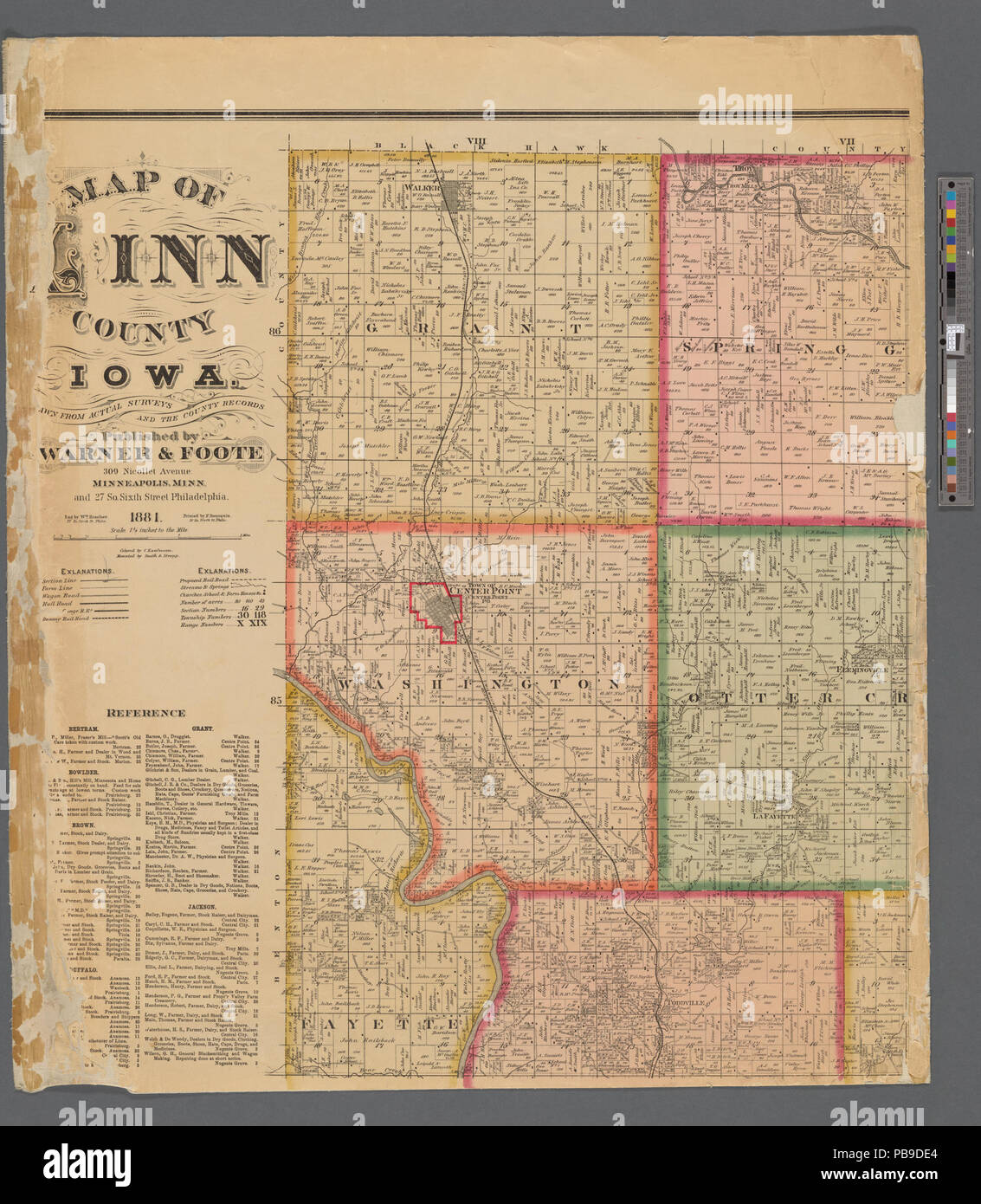 993 Map Of Linn County Iowa Nypl B11655881 5366949 Stock Photo
