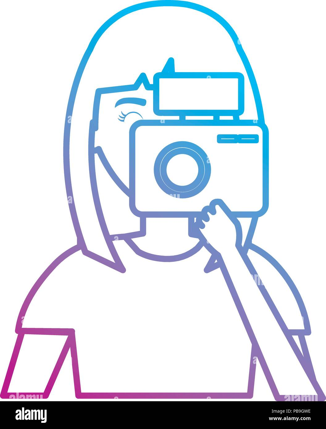 woman photographer with camera - Stock Vector