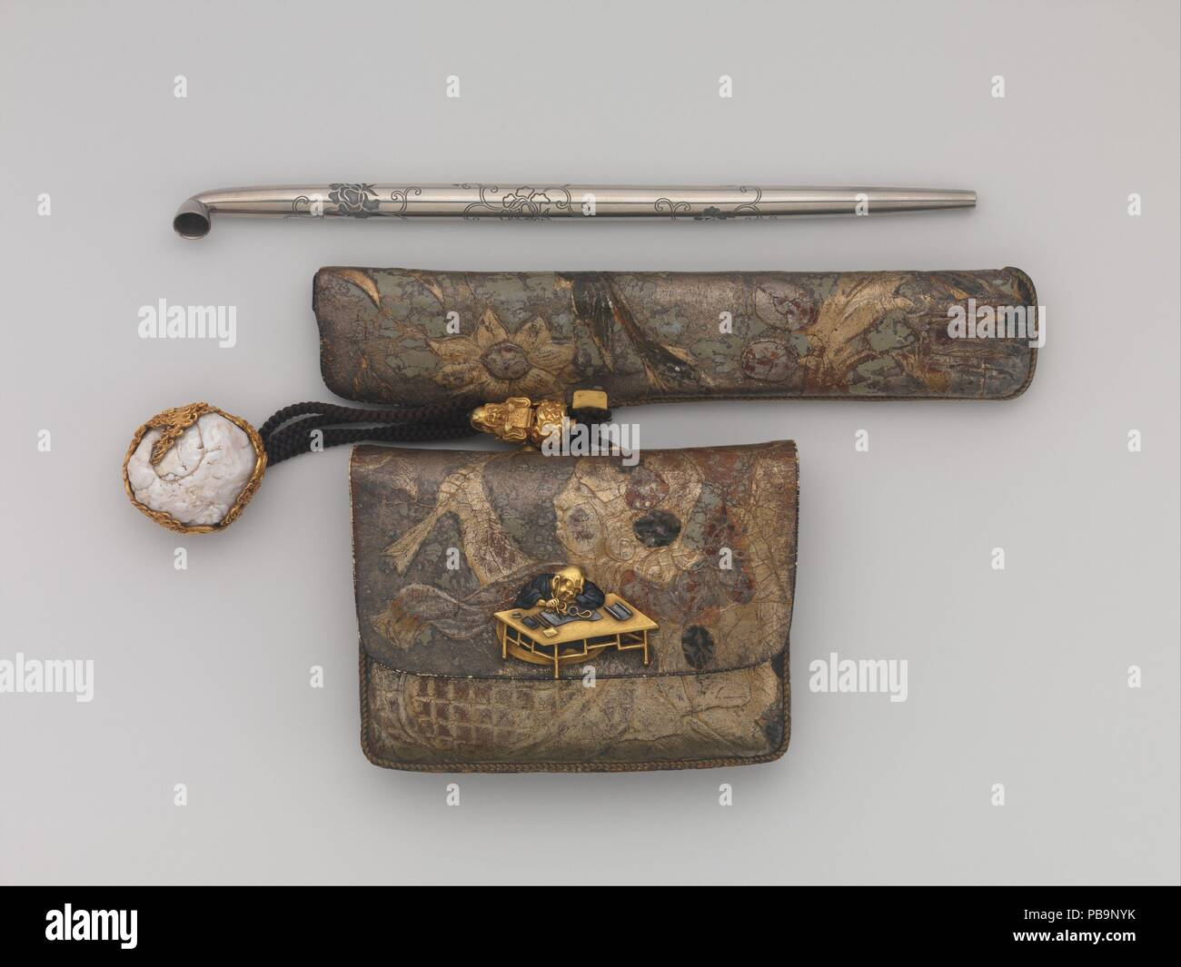 Tobacco Pouch and Pipe with Netsuke of Freshwater Pearl in