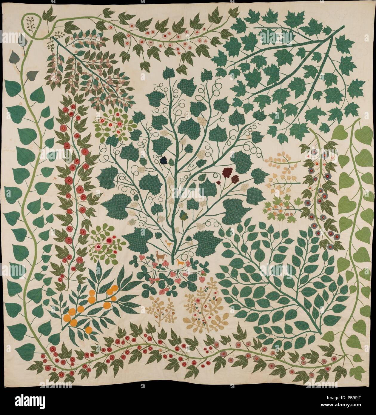 Branches and Vines Quilt. Culture: American. Dimensions: 88 × 86 in. (223.5 × 218.4 cm). Maker: Ernestine Eberhardt Zaumseil (American, 1828-1904). Date: ca. 1875.  Working in the later years of the nineteenth century, Ernestine Zaumseil created this extraordinary quilt employing the Tree of Life pattern, a design that has been popular for use on bedcovers since the seventeenth century. The first Tree of Life bedcovers, called 'palampores', were of Indian origin and featured a stylized tree bearing fantastical fruits and flowers. An Indian palampore makes up the central panel of quilt 2014.263 - Stock Image