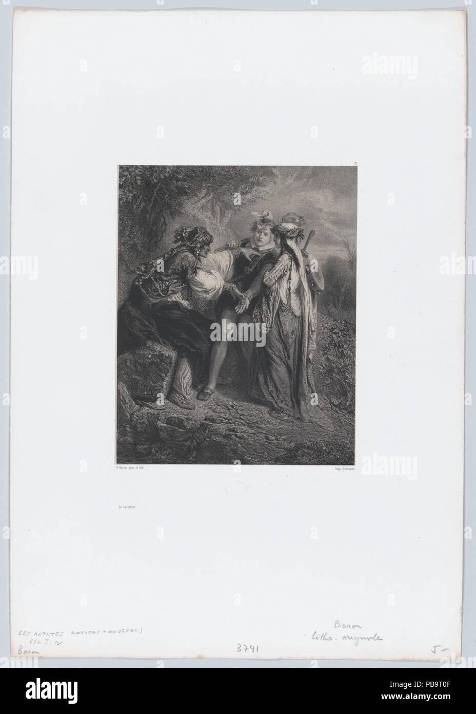 The Witch. Artist: Henri-Charles-Antoine Baron (French, Besançon 1816-1885 Geneva). Dimensions: Sheet: 17 5/8 × 12 5/16 in. (44.8 × 31.3 cm)  Image: 8 1/8 × 6 1/2 in. (20.7 × 16.5 cm). Printer: Bertauts. Series/Portfolio: Les Artistes Anciens et Modernes. Date: 1850. Museum: Metropolitan Museum of Art, New York, USA. - Stock Image