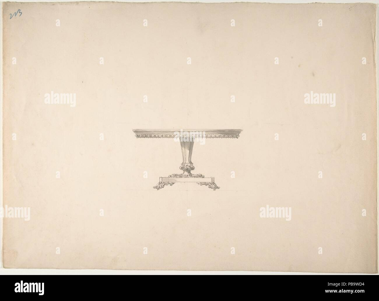 Design for a Round Pedestal Table. Artist: Anonymous, British, 19th century. Dimensions: sheet: 10 13/16 x 15 1/16 in. (27.4 x 38.2 cm). Date: early 19th century. Museum: Metropolitan Museum of Art, New York, USA. - Stock Image