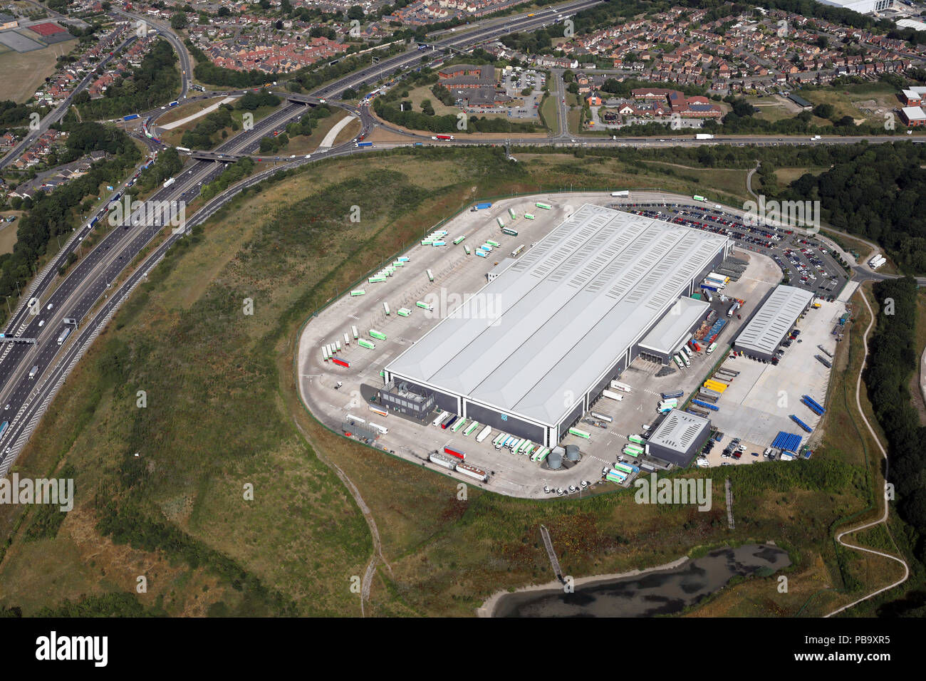 aerial view of the Co-Op Castlewood Distribution Centre, Sutton-in-Ashfield - Stock Image