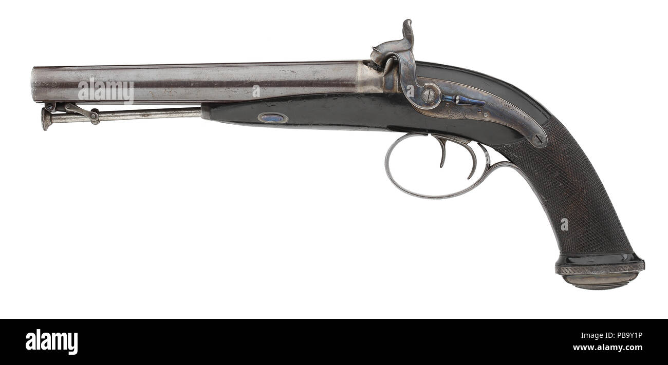 Percussion double barrelled pistol by J.Purdey - Stock Image