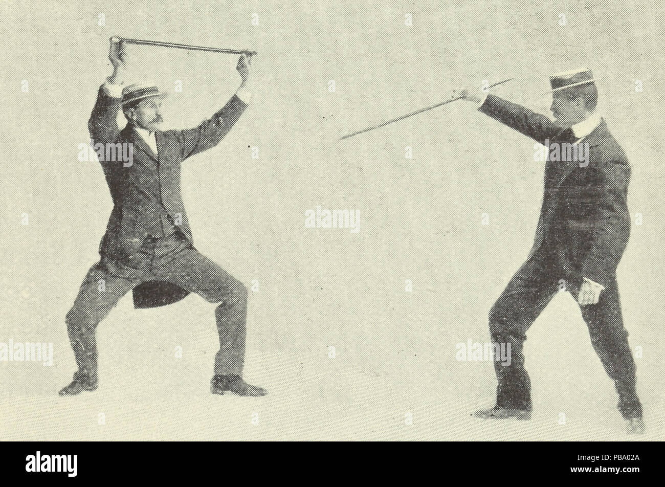 Photograph taken from the article, 'Self-defence with a walking stick. The different methods of defending oneself with a walking stick or umbrella when attacked under unequal conditions' - Stock Image